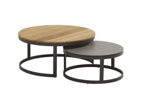 4SO Stonic loungebord sæt Ø80 & Ø60 cm