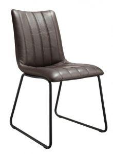 Casø Lux seat sort stål mørkbrun læder