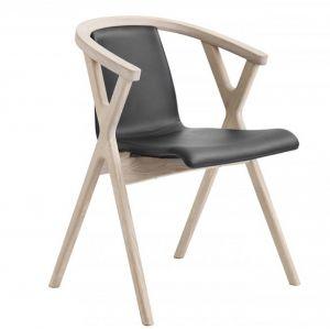 Casø Mr X spisebordsstol eg hvidolie sort læder