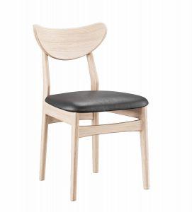 Casø Esther spisebordsstol Eg hvidolie sort læder