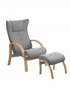 Conform Easy stol inkl. skammel - Eg hvidolie - Lysgrå uld