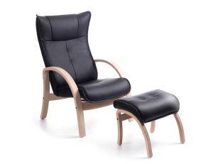 Conform Easy stol inkl. skammel - Sort læder - Eg hvidolie