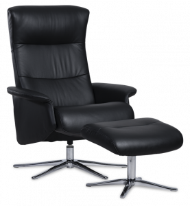 IMG Space 2000 - Lænestol i læder inkl. skammel